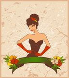 Pin-up girl in retro style Royalty Free Stock Photography