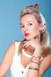 Pin up girl retro style portrait blue background Royalty Free Stock Photos