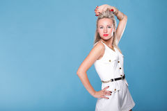 Pin Up Girl Retro Style Portrait Blue Background Royalty Free Stock Photography