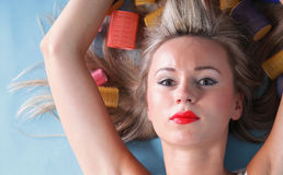 Pin up girl retro style portrait woman drying hair Royalty Free Stock Image