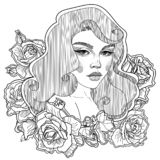 pin up girl in roses stock photography