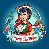 Pin Up girl in Santa costume Royalty Free Stock Photography