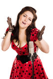 Pin-up girl singing a song Royalty Free Stock Photo