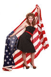 Pin Up Girl in Studio With American Flag Stock Photos
