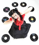 Pin-up girl style retro woman analogue record. Style Sexy phonography analogue record American Girl pin-up retro woman Royalty Free Stock Images
