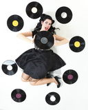 Pin-up girl style retro woman analogue record Stock Photography