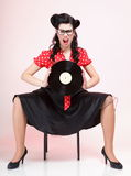 Pin-up girl style retro woman analogue record Royalty Free Stock Photo