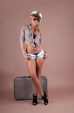 Pin-up Girl With Suitcase Royalty Free Stock Image