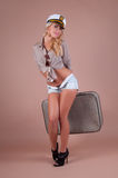 Pin-up Girl With Suitcase Stock Images