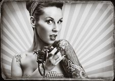 Pin-Up girl with tattoos Royalty Free Stock Images