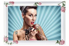 Pin-Up girl with tattoos Royalty Free Stock Photo