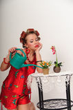 Pin up girl watering the flowers Stock Images