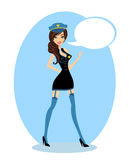 Pin-up Girl Wearing a Cop's Uniform. Illustration Stock Images