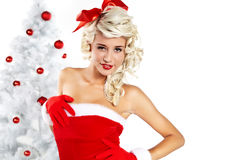 Pin-up girl wearing santa claus clothes Royalty Free Stock Photo