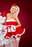 Pin-up girl wearing santa claus clothes Stock Photos