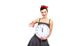 Pin-up girl on white background Royalty Free Stock Photo