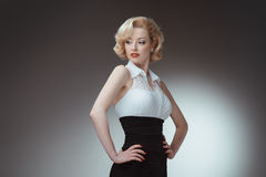 Pin-up girl young and beautiful woman portrait on Stock Image