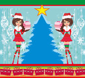 Pin-up girls in Christmas inspired costume Royalty Free Stock Photo