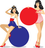 Pin-up girls holding placecards Stock Photos