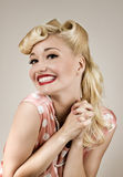 Pin-up happy girl portrait. Retro style portrait of young happy woman Stock Photos