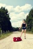 Pin up hitchhiking Stock Image