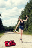 Pin up hitchhiking Stock Photo