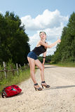Pin up hitchhiking Royalty Free Stock Photos