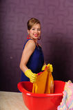 Pin up housewife wash clothes Stock Photography
