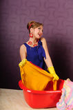 Pin up housewife wash clothes Stock Images