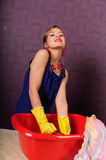 Pin up housewife wash clothes Royalty Free Stock Images