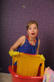 Pin up housewife wash clothes Stock Photo