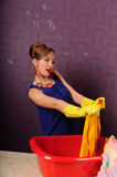 Pin up housewife wash clothes Stock Photos