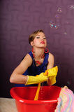 Pin up housewife wash clothes Royalty Free Stock Image
