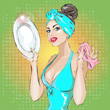 Pin-up housewife woman portrait in blue dress wash up plate. housekeeping, sexy wife. Hand drawn  illustration background Stock Photography