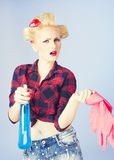 Pin-up housewife woman portrait. Housekeeping, housewife royalty free stock photography