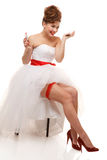 Pin-up with lipstick. Pin-up bride with lipstick.Professional make-up, hair and style Stock Image