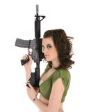 Woman with automatic rifle Stock Photography