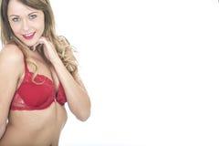 Pin Up Model atractivo sofisticado feliz en sujetador rojo Foto de archivo libre de regalías