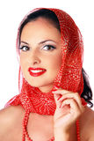 Pin up model with wrap Royalty Free Stock Image