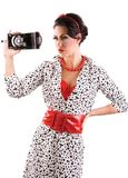 Pin up photographer. Beautiful retro pin up woman taking photo with vintage camera stock photography