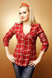 Pin-up portrait of beautiful housewife Royalty Free Stock Photography