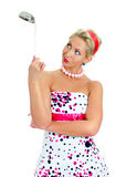 Pin-up portrait of woman with ladle. Royalty Free Stock Photography