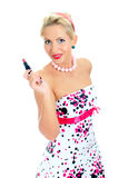 Pin-up portrait of woman with lipstick. Stock Images