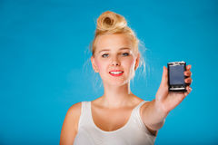 Pin up retro gril with phone. Royalty Free Stock Images