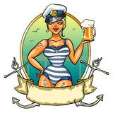 Pin Up Sailor Girl with cold beer Royalty Free Stock Images