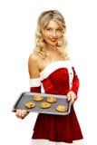 Pin up santa girl with cookies Royalty Free Stock Image