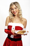Pin up santa girl with cookies Stock Image