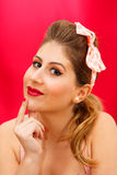 Pin up session. The makeup model pin up style Stock Photos