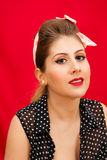 Pin up session. The makeup model pin up style Royalty Free Stock Image