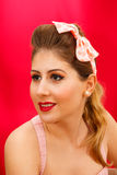 Pin up session. The makeup model pin up style Stock Images